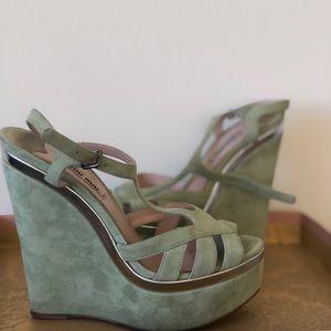 c20a110e82c Miu Miu Shoes - Miu Miu Pistacchio Suede Wedges Heels